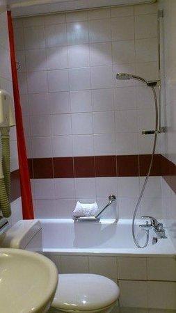 Hotel Turenne Le Marais: シャワーはカーテン、仕切りはありません。大柄な人にはちょっときついサイズです。
