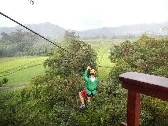 Just Live! Zipline Tours: And away he goes!