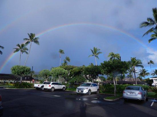 Kauai Coast Resort at the Beachboy: Double Rainbow one morning