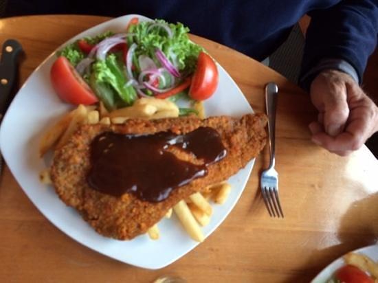 Ocean Beach Hotel: A very reasonably priced schnitzel which was yummy