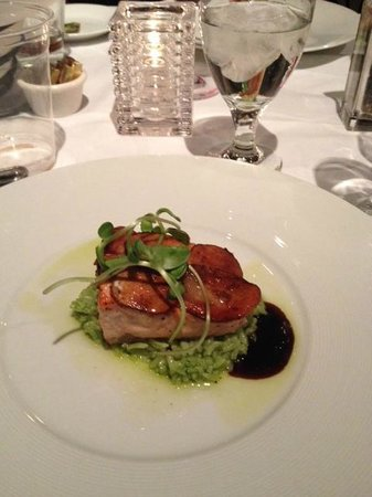 Marisol at the Cliffs: Salmon encrusted with potatoes on a bed of jasmine-jalapeno rice.