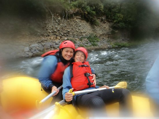 Tongariro River Rafting: My son, Aidan and I at the end of our trip.  Thanks to the lovely humourous and friendly staff.