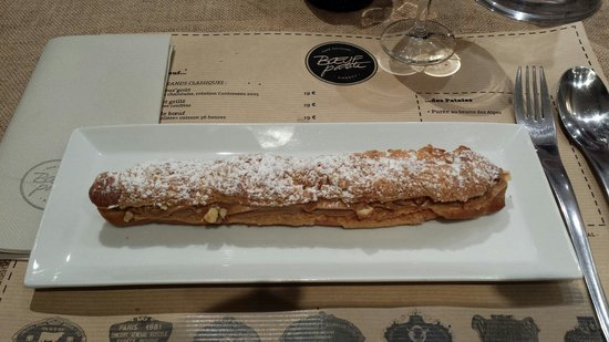 Boeuf Patate : Eclair XXL praliné et caramel beurre salé