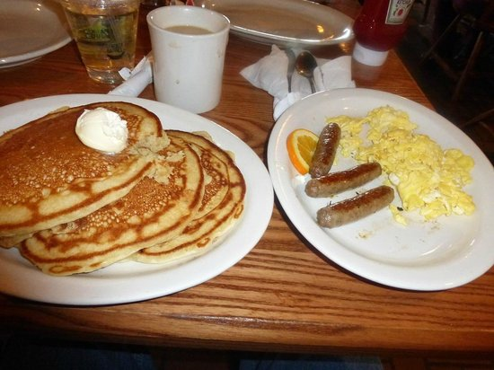 Cracker Barrel Pancakes, eggs & sausage