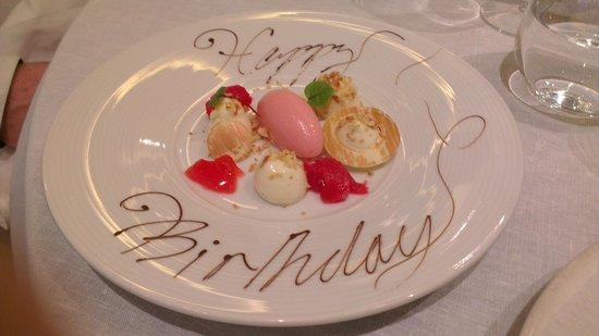 Murano: Bonus cheesecake dessert for the birthday boy