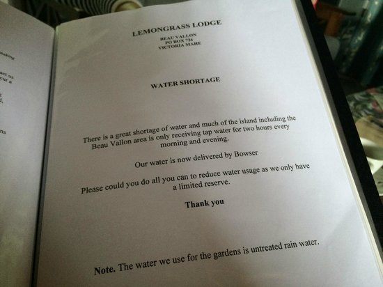 Lemongrass Lodge : о воде