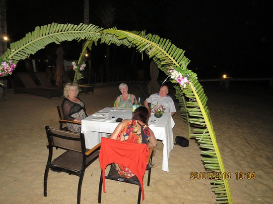 The Village Coconut Island Beach Resort: Eating on the beach