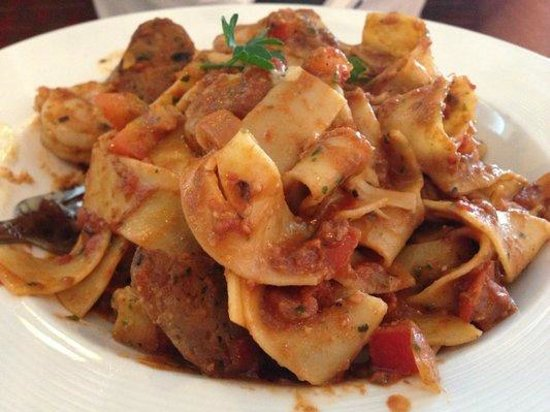 Adriatic Grill - Italian Cuisine & Wine Bar: Papardelle with sausage and prawns in a red sauce.