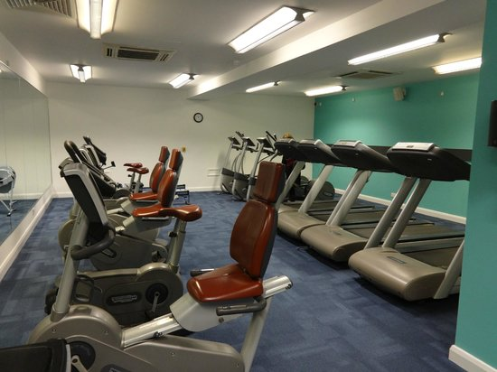 Tankersley Manor Hotel - QHotels: One half of the gym, 6 weight lifting equipment also