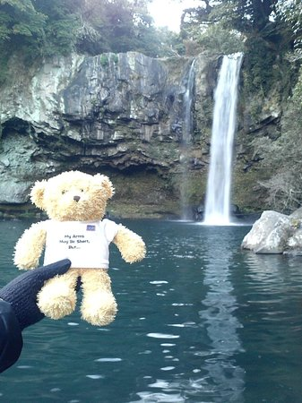 "Cheonjiyeon Falls : Ted E. Bear from USO says ""Hi Everyone"""