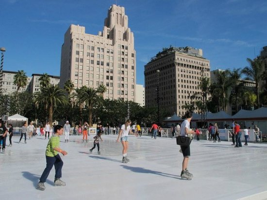 Los Angeles Conservancy Walking Tours: ice skating under 72F California temperature