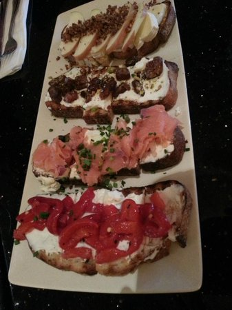 B Street & Vine: Brie and Apple...Goat Cheese and Date....Salmon and Capers...Roasted Red Pepper and Cream Cheese