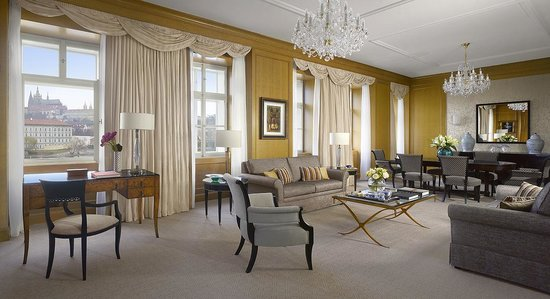 Four Seasons Hotel Prague: Premier Suite living room in Neo-Classical building