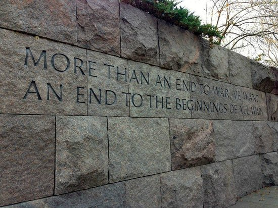 Franklin Delano Roosevelt Memorial: The writing is literally on the wall