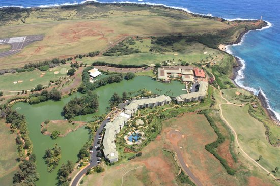 Marriott's Kauai Lagoons: Aerial view of the resort that I took from a helicopter