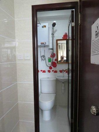 Delta Hotel: The bath, perhaps 2 1/2 by 3 feet
