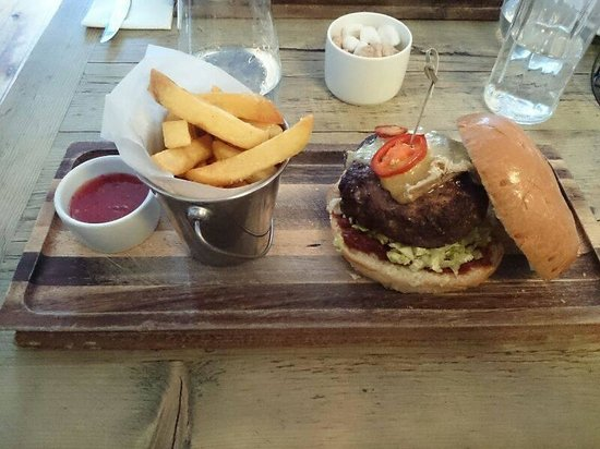The George at Burpham: The house burger with additional Stilton cheese