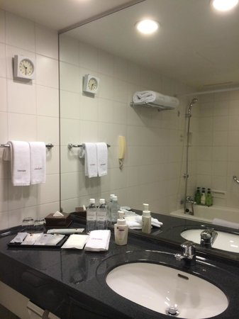 Hotel Century Southern Tower : Bathroom with large vanity.