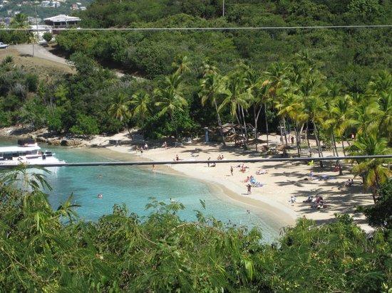 Virgin Islands Campground: Looking down on Honeymoon Beach