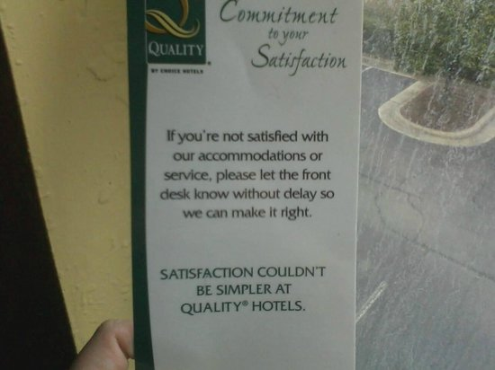 Quality Inn & Suites Medical Park: I let them know I wasn't satisfied but it didn't make a difference
