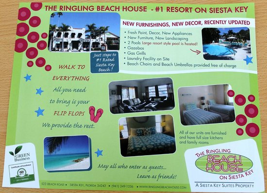 The Ringling Beach House - A Siesta Key Suites Property: New brochure!