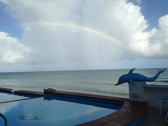 Casa La Lanchita : The pool and an unexpected rainbow