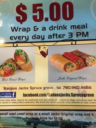 Badass Jack's Subs & Wraps Co: Everyday after 3 pm special