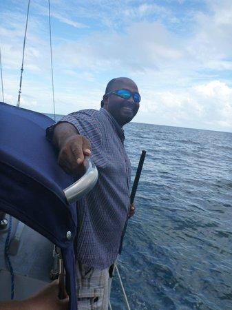 Daytripper Catamaran Charters: Bert's keeping an eye on things