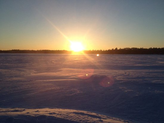 Fishing on Lake Temagami: Morning on the ice at Blue Haven lodge on lake temagami
