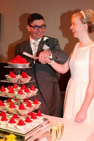 Lynnhurst Hotel : Bride & Groom who just love strawberry Tarts. Why? Engaged Stawberry Fields, NY, USA