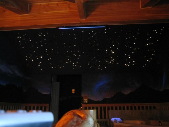 Alaskan Inn: The star show all lit up on the ceiling