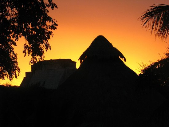 The Lodge at Uxmal: Sunset from the upper deck by our room