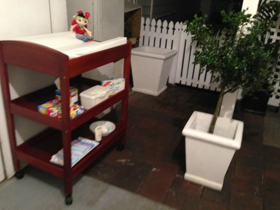 1904 Cafe : Baby Station Set Up Ready & Waiting. Range of Nappies supplied , apols to the environment