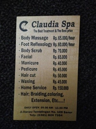 Claudia Spa: Treatments