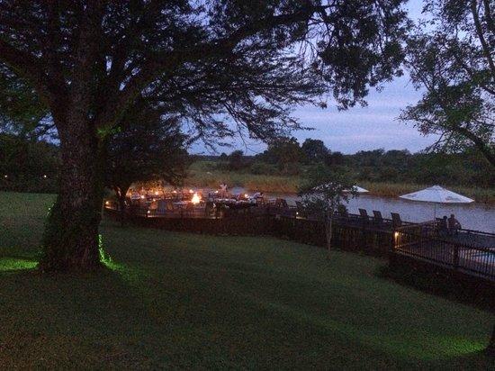 Sabie River Bush Lodge: Dinner on terrace