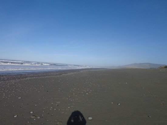 Ireland's Rustic Lodges: Beach at the lodges.  Nice black sand beach to run or walk
