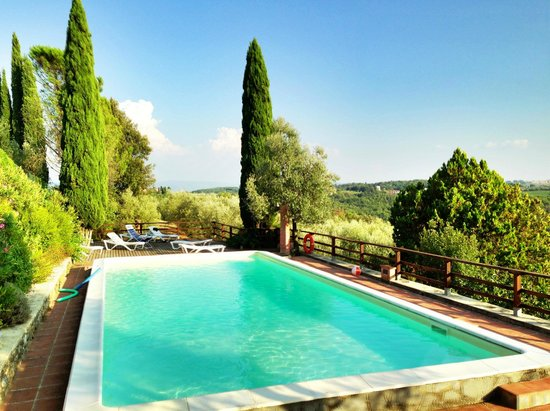 Agriturismo Il Pintello: Pool area with great views of Tuscan hills and villages