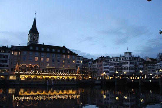 Storchen Zurich: View of The Storchen from across the river