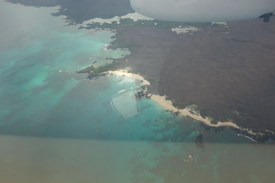 Iguana Crossing: view of Isabela from plane