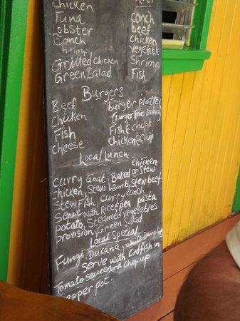 Antigua V.I.P. Tours: Luch menu - try the Fungl or Ducana