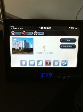Sama-Sama Hotel KL International Airport: the touch screen control panel.