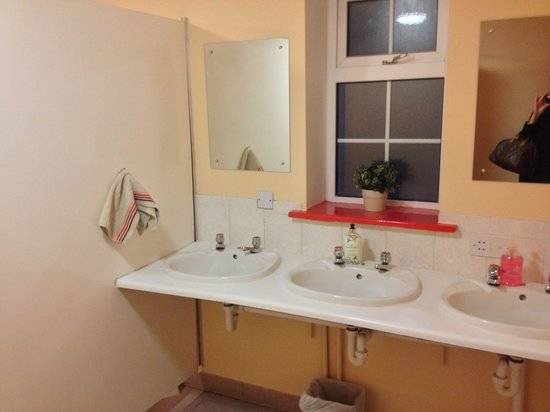 Neptunes Hostel: One of the hall bathrooms at Neptune's Hostel. Clean! Well lit!