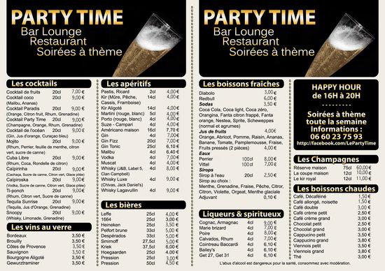 Carte Restaurant Boisson.Carte Boisson Restaurant Senlis Photo De Le Party Time