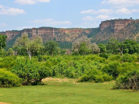 Gonarezhou National Park: Summer greenery and the cliffs