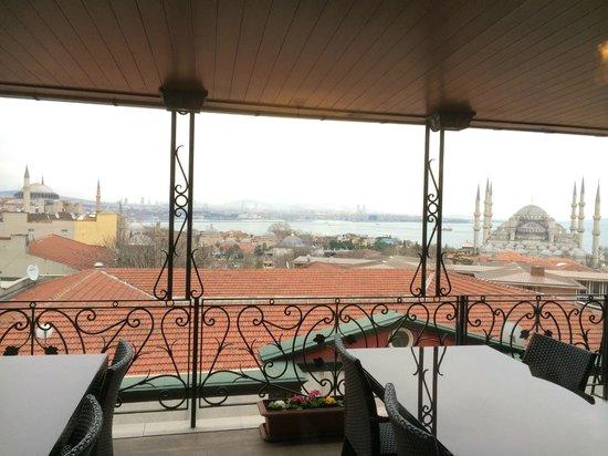 Nena Hotel: view from inside the breakast restaurant