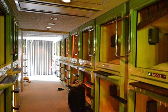 Capsule Hotel Asakusa Riverside: The capsule corridor