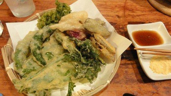 Mori no Kenja: 島野菜の天ぷらです。