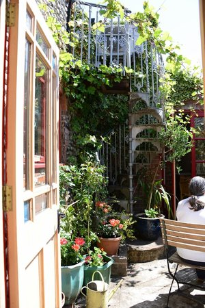 Balthazar Wine Bar: On bright, sunny days, there is a tiny courtyard to sit in.