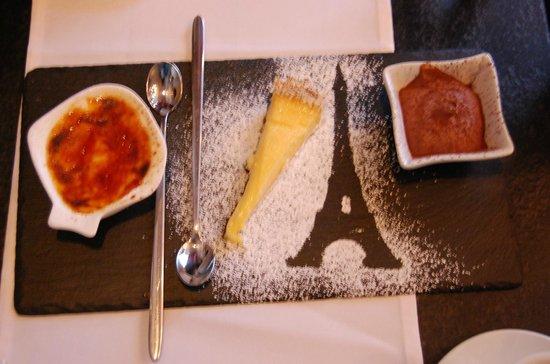 Le Bistrot Parisien : Das Dessert-Tripple mit einer Mousse, Creme Brullee und Zitronentarte