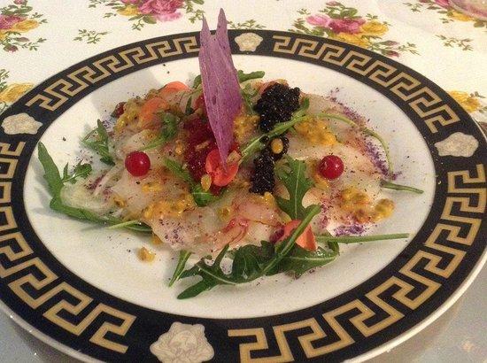 Miti Di Palma: Crevetten Carpaccio mit Kaviar